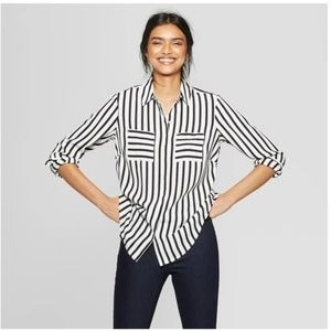 Relaxed Fit Long Sleeve Collared Blouse -74-191
